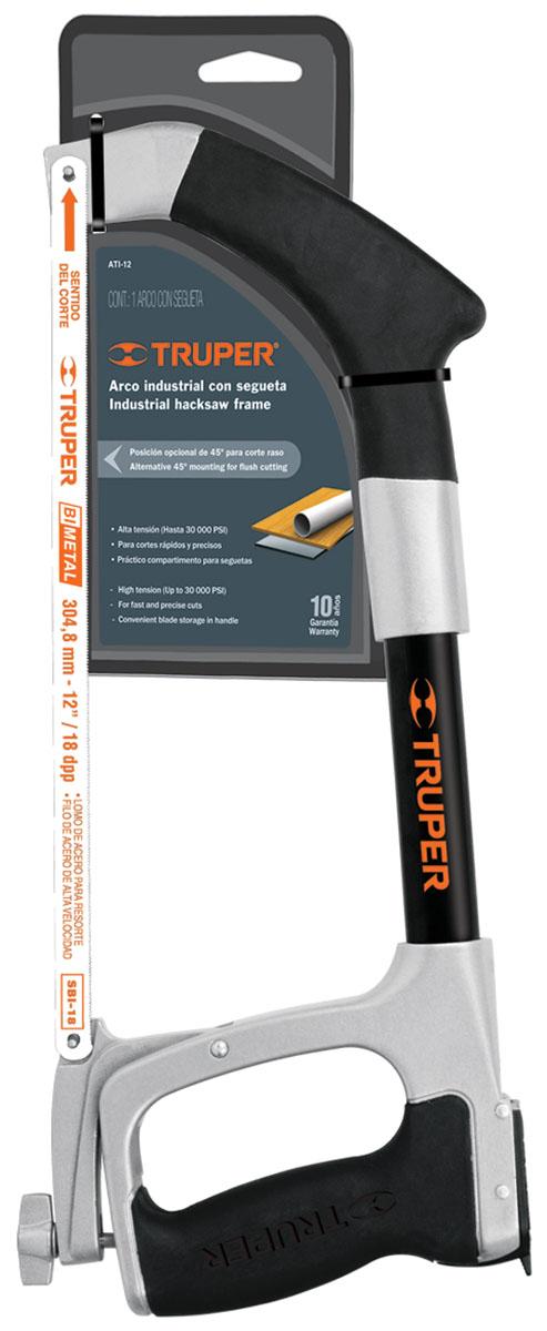 Ножовка по металлу Truper, 304,8 ммATI-12Ножовка Truper предназначена для ручного распила металлических материалов при помощи ручного ножовочного полотна. Каркас выполнен из алюминия, ручка инжектированная из TPR-пластика. Полотно биметаллическое. Установка полотна 45° и 90°. В ручке имеется отверстие с крышкой, в которое можно спрятать дополнительные полотна. Длина полотна: 30,48 см. Общий размер ножовки: 40 см х 17 см х 2,5 см.