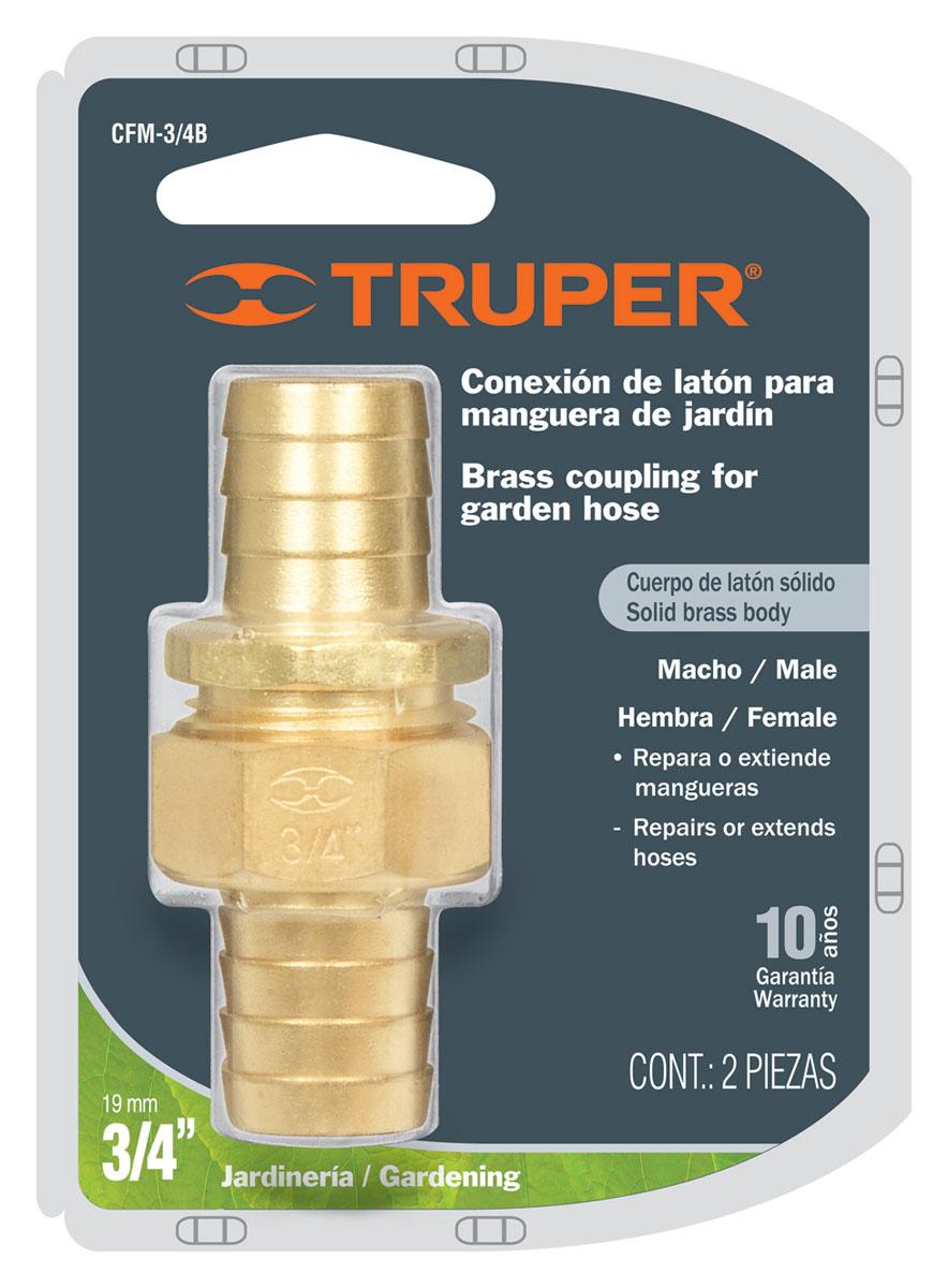 Коннектор для шланга Truper, латунный, мама-папа, 3/4CFM-3/4BШланговый коннектор Truper, выполненный из латуни, предназначен для быстрого и многократного присоединения и отсоединения шланга к насадкам или крану. Тип соединения мама-папа.