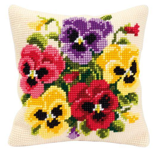 Набор для вышивания подушки Vervaco Анютины глазки, 40 см х 40 см647466