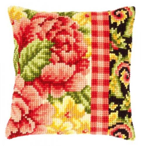 """Набор для вышивания подушки Vervaco """"Цветы с завитками"""", цвет: красный, желтый, черный, 40 см х 40 см"""