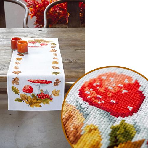 Набор для вышивания скатерти Vervaco Мухоморы и листья, 32 х 84 см7707633