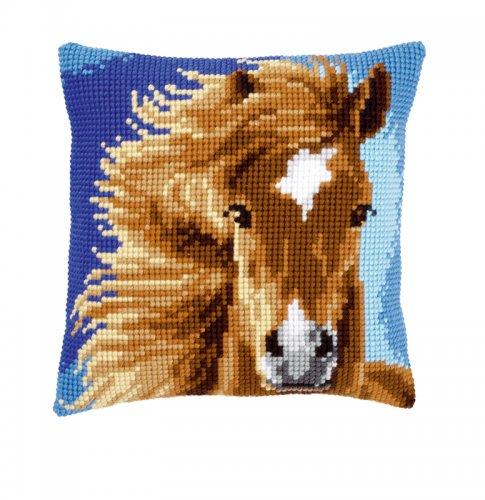 Набор для вышивания подушки крестом Vervaco Коричневая лошадь, 40 см х 40 см7707668