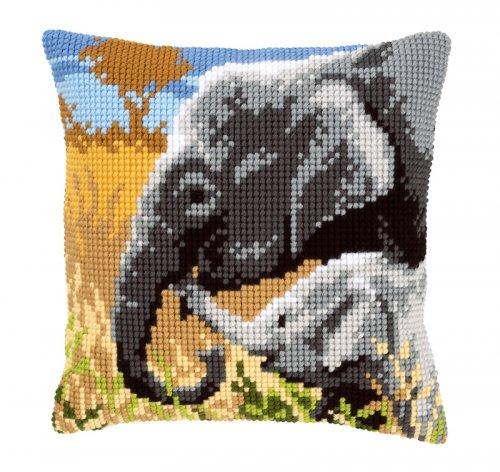 Набор для вышивания подушки крестом Vervaco Слоновая любовь, 40 см х 40 см7707670