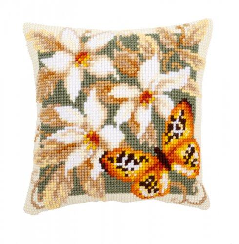 Набор для вышивания подушки крестом Vervaco Зеленная бабочка, 40 х 40 см7707675