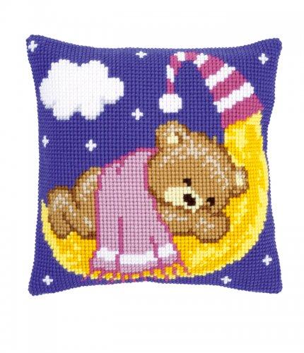 Набор для вышивания подушки крестом Vervaco Розовый мишка на луне, 40 см х 40 см7707678