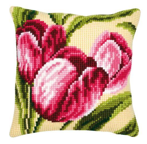Набор для вышивания подушки Vervaco Весенние тюльпаны, 40 см х 40 см. PN-0008781929009