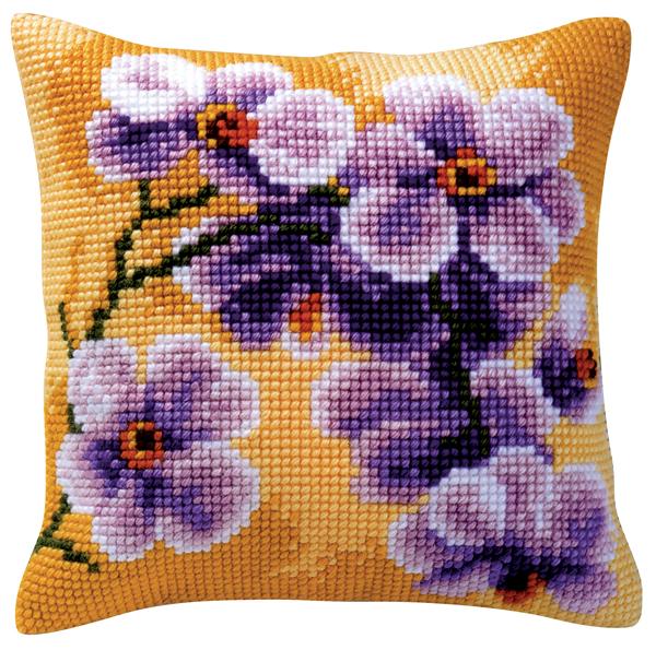 Набор для вышивания подушки Vervaco Фиолетовые цветы, 40 см х 40 см929214