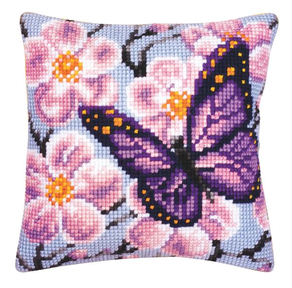 Набор для вышивания подушки Vervaco Фиолетовая бабочка, 40 см х 40 см929262