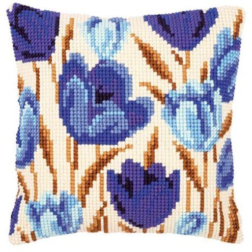 Набор для вышивания подушки Vervaco Синие тюльпаны, 40 см х 40 см929390Красивый и стильный рисунок-вышивка, выполненный на страмине с нанесенным рисунком, станет прекрасной заготовкой для создания стильной декоративной подушки. Вышивание отвлечет вас от повседневных забот и превратится в увлекательное занятие! Работа, сделанная своими руками, создаст особый уют и атмосферу в доме и долгие годы будет радовать вас и ваших близких, а также станет прекрасным подарком. Набор для вышивания содержит все необходимые материалы для вышивки на печатной канве в технике несчетный крест. В состав набора входит: - жесткая канва-страмин с нанесенным рисунком (100% хлопок), - пряжа (100% акрил), - игла, - схема, - подробная инструкция. Обратная сторона подушки и наполнитель в комплект не входят.