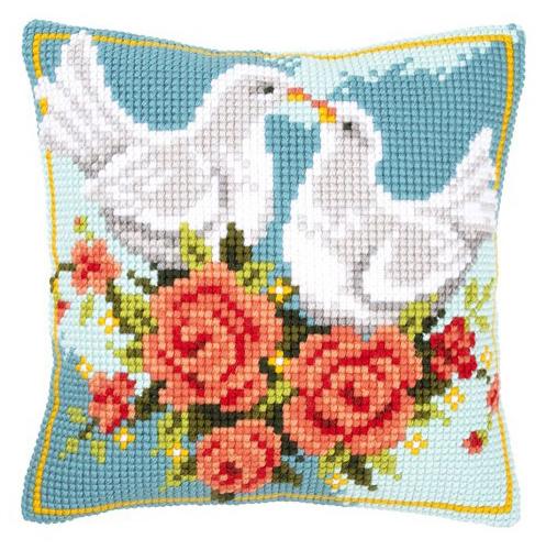 Набор для вышивания подушки Vervaco Влюбленные голубки, 40 х 40 см929391