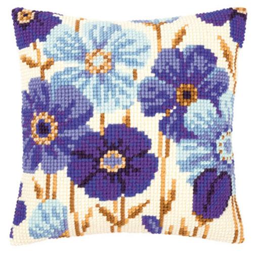 Набор для вышивания подушки Vervaco Синие анемоны, 40 х 40 см929393