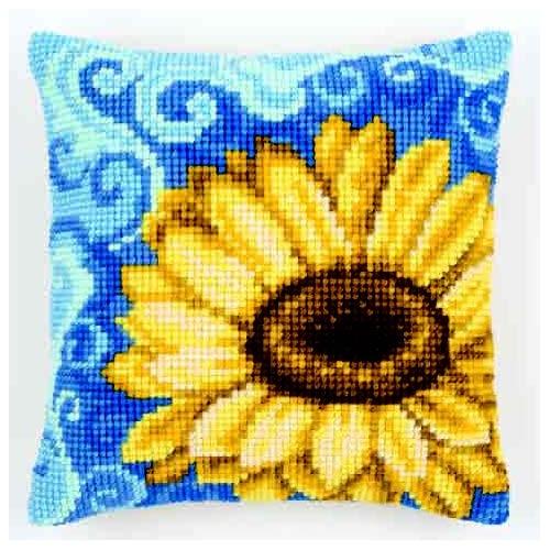 Набор для вышивания подушки крестом Vervaco Подсолнух на синем, 40 х 40 см929448