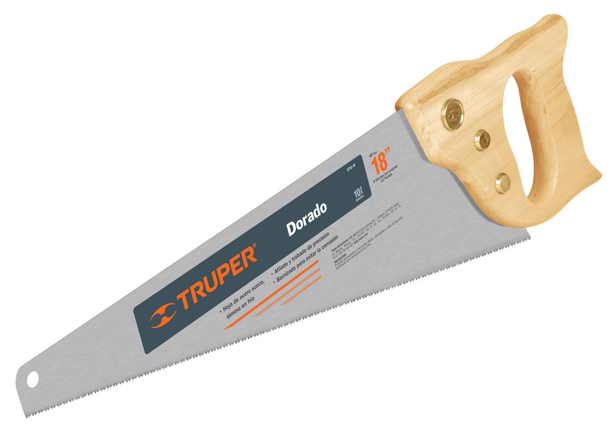 Ножовка по дереву Truper Dorado, 45,7 смSTD-18Ножовка по дереву Truper Dorado предназначена для пиления заготовок из древесины мягких и твердых пород, фанеры, ДСП, ПХВ. Деревянная рукоятка позволяет точно вести инструмент во время работы. Полотно изготовлено из закаленной высокоуглеродистой стали, благодаря чему оно сохранит остроту долгое время. Длина полотна: 45,7 см. Общие размеры ножовки: 51,5 см х 15 см х 2,5 см. Толщина полотна: 0,8 мм. Размер ручки: 17 см х 14 см х 2,5 см.