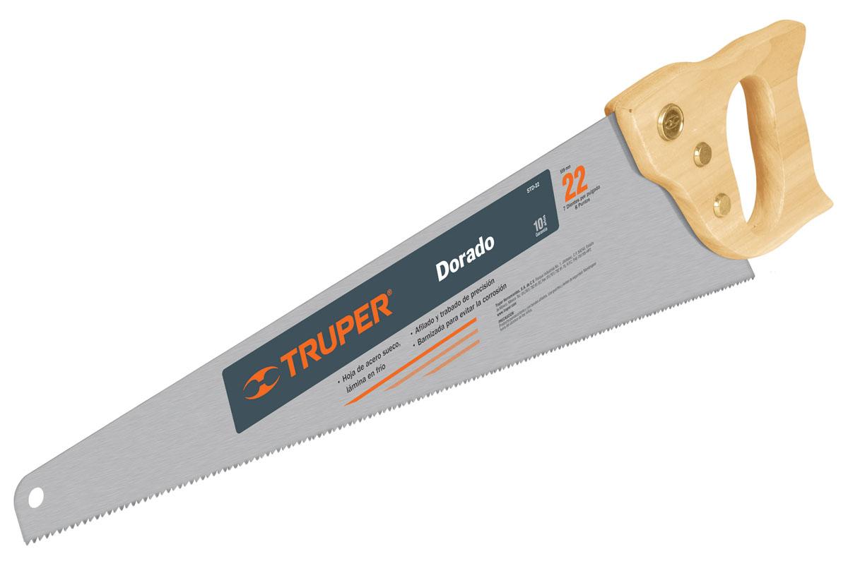 Ножовка по дереву Truper Dorado, 56 смSTD-22Ножовка по дереву Truper Dorado предназначена для пиления заготовок из древесины мягких и твердых пород, фанеры, ДСП, ПХВ. Деревянная рукоятка позволяет точно вести инструмент во время работы. Полотно изготовлено из закаленной высокоуглеродистой стали, благодаря чему оно сохранит остроту долгое время. Длина полотна: 56 см. Общие размеры ножовки: 62 см х 15 см х 2,7 см. Толщина полотна: 0,8 мм. Размер ручки: 17 см х 13 см х 2,7 см.