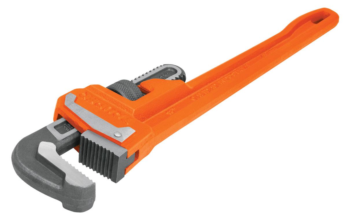 Газовый ключ Truper, 45,7 смSTI-18Газовый ключ Truper повышенной мощности применяется в работе с трубными соединениями. Зажимные губки изготовлены из хром-молибденовой стали. Легкая регулировка. В среднем на 70% превышают передаваемый крутящий момент по стандарту GGG-W-651E. Ширина раскрытия губок: 50,8 мм.