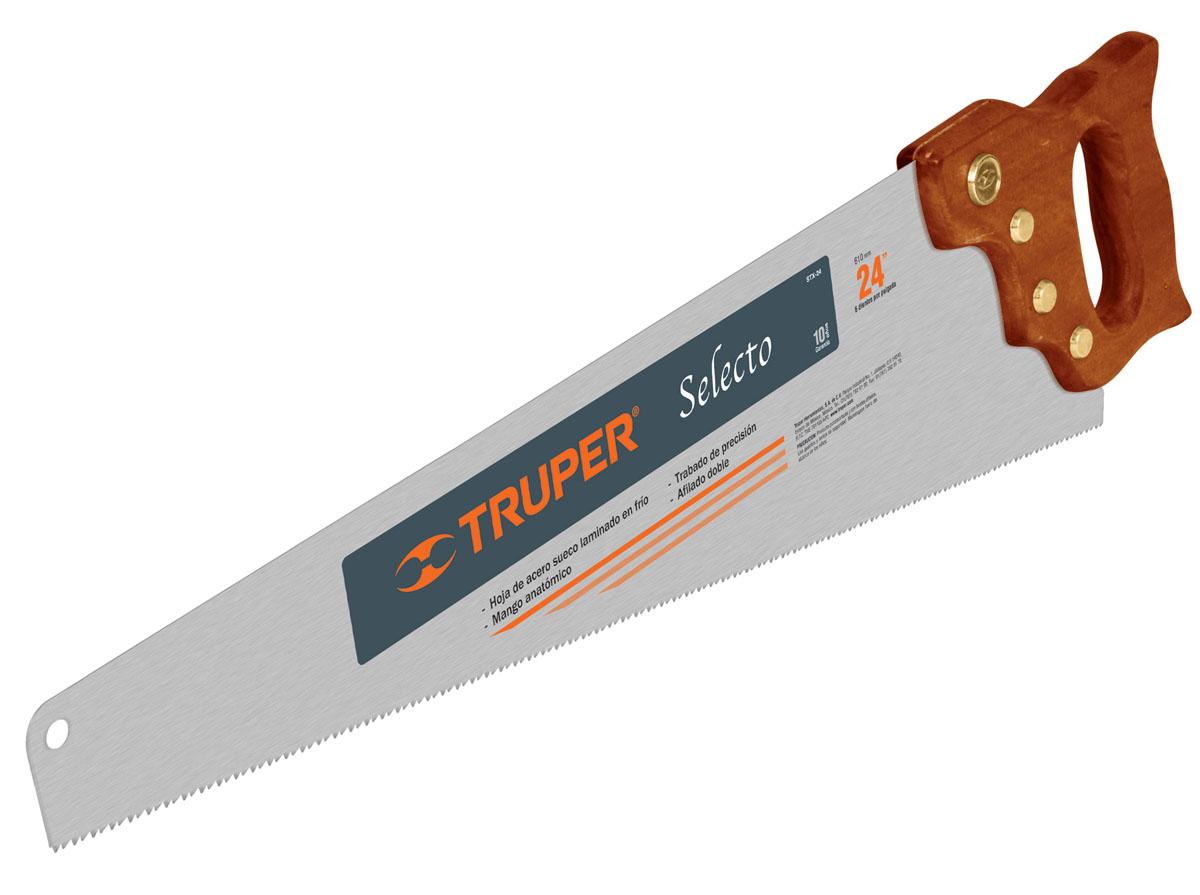 Ножовка по дереву Truper Selecto, 61 смSTX-24Профессиональная ручная пила Truper Selecto предназначена для пиления заготовок из древесины мягких и твердых пород, фанеры, ДСП, ПХВ. Деревянная рукоятка позволяет точно вести инструмент во время работы. Полотно изготовлено из закаленной высокоуглеродистой стали, благодаря чему оно сохранит остроту долгое время. Длина полотна: 61 см. Общие размеры ножовки: 67 см х 15 см х 3 см. Толщина полотна: 0,9 мм. Размер ручки: 17 см х 14 см х 3 см.