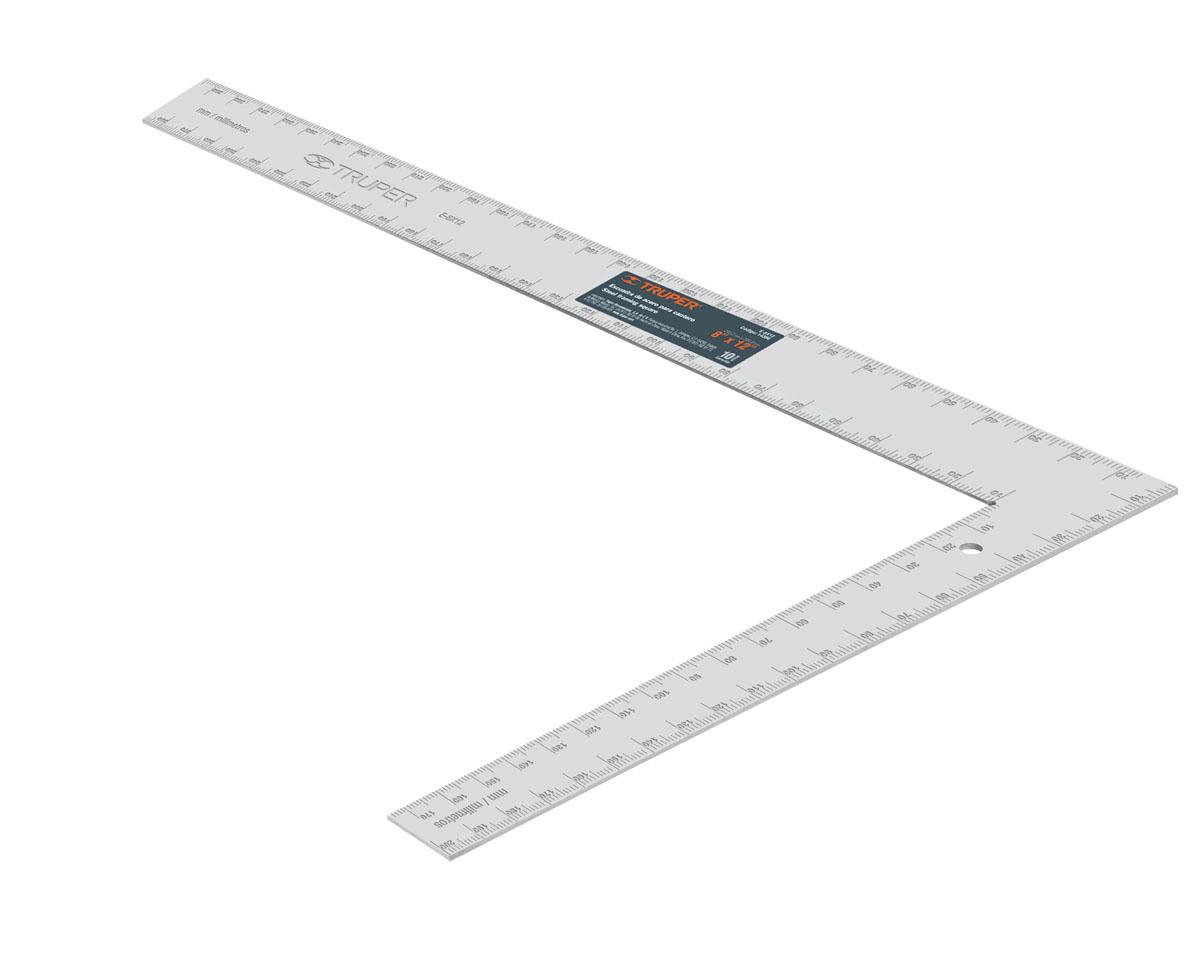 Угольник измерительный Truper, 30 х 20 смE-8X12Угольник измерительный Truper, изготовленный из высококачественной стали, станет незаменимым предметом для столярных работ. Предназначен для разметки и проверки взаимной перпендикулярности поверхностей. Все шкалы выгравированы на плоскости, что продлевает срок службы прибора.