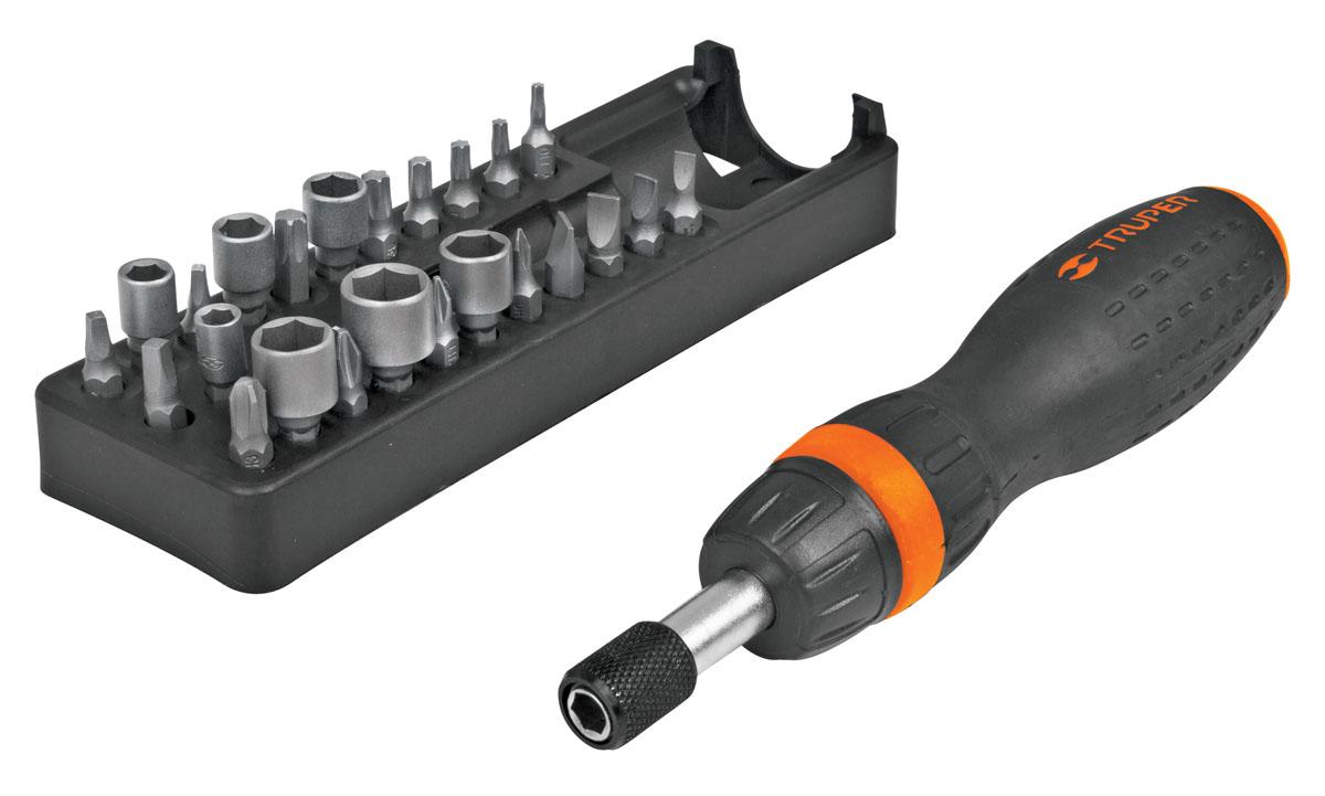Отвертка с трещоткой и битами Truper JDM-24, 25 предметовJDM-24Отвертка с трещоткой и битами предназначена для монтажа/демонтажа резьбовых соединений. Биты изготовлены из высококачественной хром-ванадиевой стали. В набор входят: Отвертка с трещоткой. Биты плоские: 4 мм, 5 мм, 6 мм, 7 мм. Биты Phillips: PH0, PH1, PH2, PH3. Биты Torx: T10, T15, T20, T25, T30, T40. Биты квадратные: S1, S2, S3. Головки торцевые: 5 мм, 6 мм, 7 мм, 8 мм, 9 мм, 10 мм, 11 мм. Удобное хранилище для бит.