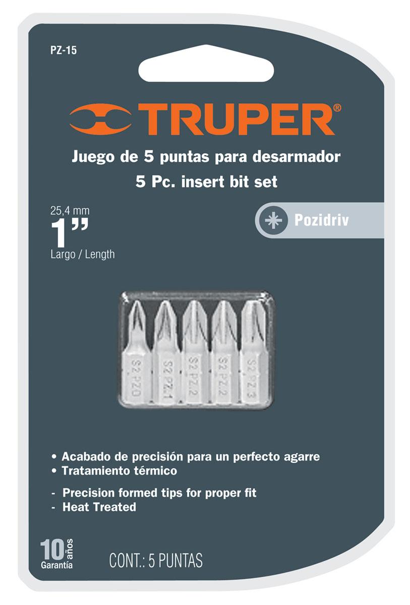 Набор бит Truper, PZ x 25 мм, 5 шт PZ-15