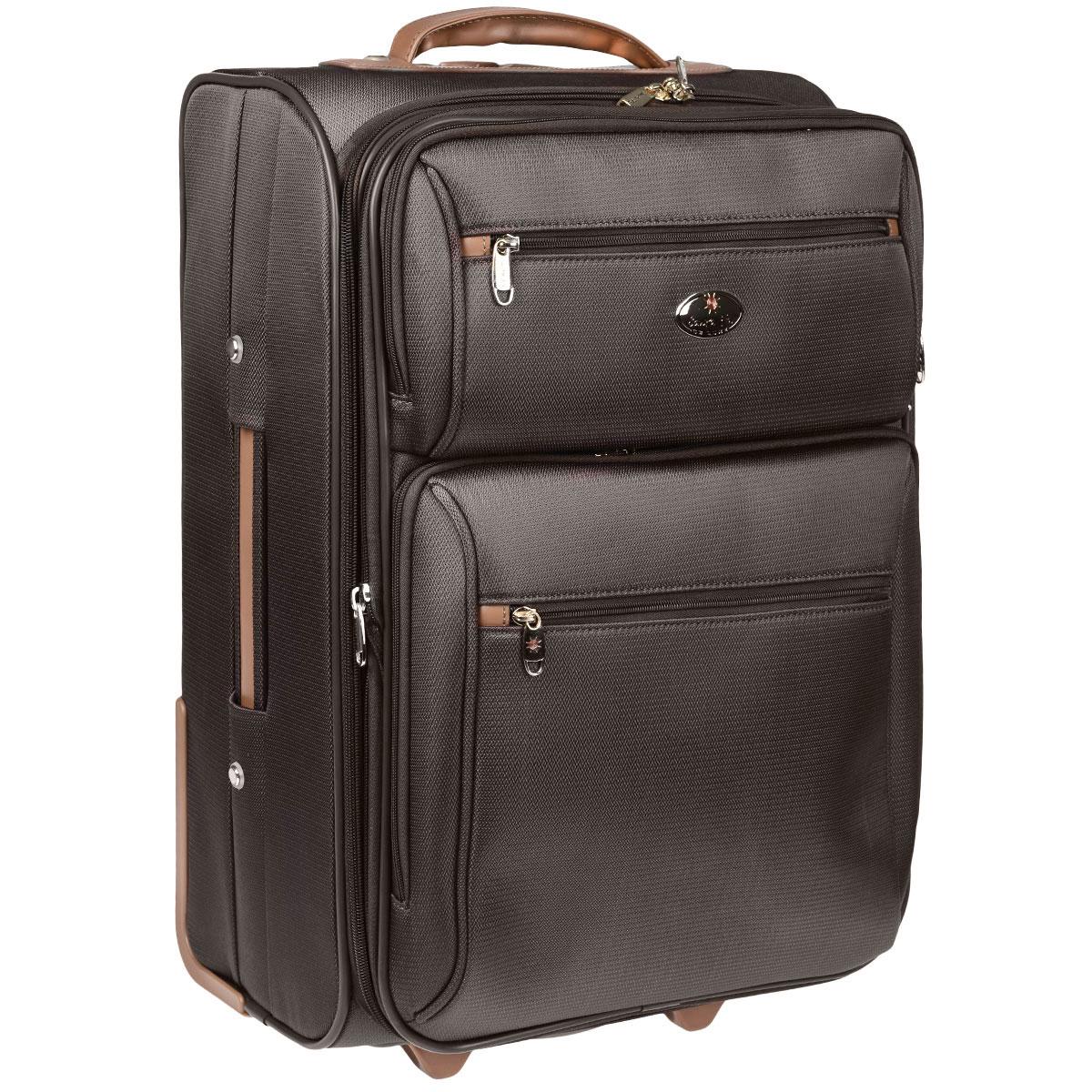 Чемодан-тележка Santa Fe De Luxe, L04545/21, коричневыйL04545/21 коричневыйЧемодан Santa Fe De Luxe, изготовленный из плотного полиэстера, идеально подходит для поездок и путешествий. Застегивается чемодан за молнию, бегунки которой соединяются при помощи навесного замочка, входящего в комплект. Внутри чемодан состоит из одного главного отделения с двумя эластичными багажными ремнями, соединяющимися при помощи пластикового карабина, сбоку отделения имеется сетчатый карман на застежке- молнии. На крышке, с внутренней стороны, также предусмотрен большой сетчатый карман, застегивающийся на молнию. В комплект прилагается металлическая вешалка. С внешней стороны на крышке предусмотрена круговая молния, позволяющая увеличить объем чемодана на 20%. Также с лицевой стороны имеются три дополнительных кармана, закрывающихся на молнии с двумя бегунками. Со стороны выдвижной ручки имеется окошко с ярлычком для записи данных владельца. Чемодан оснащен выдвижной ручкой и двумя пластиковыми колесами, которые обеспечивают легкость ...