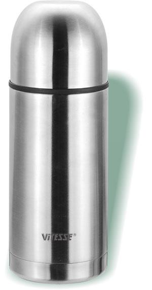 Термос Vitesse Alison, 0,75 лVS-1403Термос Vitesse Alison выполнен из высококачественной нержавеющей стали. Термос имеет вакуумную изоляцию, которая на сегодняшний день является самым эффективным способом сохранения напитков как горячими, так и холодными. Вы сможете приготовить чай и кофе непосредственно в термосе. Легкий и удобный он станет незаменимым спутником в ваших поездках. Термос оснащен крышкой-чашкой. Пробка легко фиксируется. Термос можно мыть в посудомоечной машине. Характеристики: Материал: нержавеющая сталь, пластик. Высота термоса: 22,7 см. Диаметр основания термоса: 9 см. Диаметр чашки по верхнему краю: 8 см. Высота чашки: 5 см. Объем термоса: 0,75 л. Размер упаковки: 23,5 см х 9,5 см х 9,5 см. Артикул: VS-1403. Кухонная посуда марки Vitesse из нержавеющей стали 18/10 предоставит Вам все необходимое для получения удовольствия от приготовления пищи и принесет...