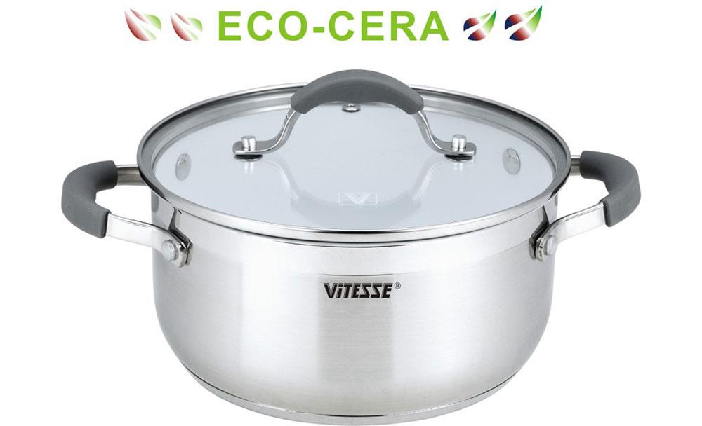 Кастрюля Vitesse, с керамическим покрытием, 1,6 л. VS-2100VS-2100Кастрюля Vitesse изготовлена из высококачественной высокопрочной нержавеющей стали 18/10. Внутреннее керамическое покрытие Eco-Cera, позволяющее готовить при высоких температурах, не оставляет послевкусия, делает возможным приготовление блюд без масла, сохраняет витамины и питательные вещества. Покрытие безопасно для человека, не содержит PFOA. Многослойное термоаккумулирующее дно с прослойкой из алюминия обеспечивает равномерное распределение тепла. Кастрюля снабжена удобными ручками из нержавеющей стали с силиконовым покрытием. Крышка из термостойкого стекла снабжена металлическим ободом, удобной стальной ручкой с силиконовой вставкой и отверстием для выпуска пара. Такая крышка позволит следить за процессом приготовления пищи без потери тепла. Она плотно прилегает к краям кастрюли, сохраняя аромат блюд. Кастрюля Vitesse подходит для использования на всех типах кухонных плит, включая индукционные. Можно мыть в посудомоечной...