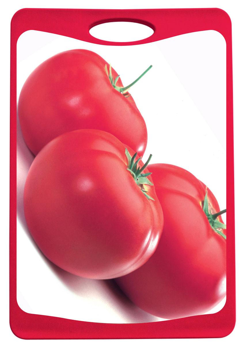 Доска разделочная Frybest Томат, цвет: красный, 25,4 см х 36,8 смMD-2536Разделочная доска Frybest Томат представляет собой комбинацию нескольких материалов: дерево, пластик и силикон. Материалы непористые, что предотвращает впитывание запаха. Доска имеет специальное антибактериальное покрытие, защищающее поверхность от появления бактерий. Доску можно использовать с двух сторон. Лицевая сторона оформлена красочным изображением томатов. Углубления по краю доски соберут весь сок и поверхность стола останется чистой. Благодаря силиконовой вставке по краю, доска не скользит по поверхности. Можно мыть в посудомоечной машине.