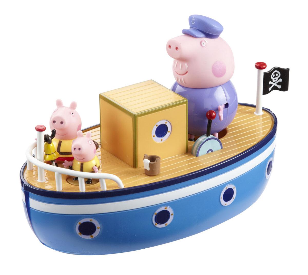 Игровой набор Peppa Pig Морское приключение15558Мультфильм «Свинка Пеппа» настолько обожаем малышами, что они ждут каждую его серию с огромным нетерпением. А с игровым набором Peppa Pig Морское приключение они могут не только наблюдать за приключениями веселой свинки, но и поучаствовать в них! Теперь Пеппа со своим братиком и дедушкой отправляются в плавание на борту пиратского корабля, на котором есть капитанская рубка, ведерко с тряпкой, чтобы драить палубу, рында, крюк с лебедкой, иллюминаторы и, конечно, пиратский флаг. Свинки не прикреплены к кораблику, поэтому они могут сходить на берег, приглашать в плавание других членов своей семьи и друзей. Судно надежно держится на волнах, поэтому может совершать путешествия в водах реки, бассейна или ванной. Путешествие обещает быть захватывающим и незабываемым! Набор содержит корабль, который держится на воде и три фигурки с подвижными ручками и ножками (Пеппа, Джордж и дедушка). Во время такой сюжетно-ролевой игры у ребенка отрабатываются навыки общения,...
