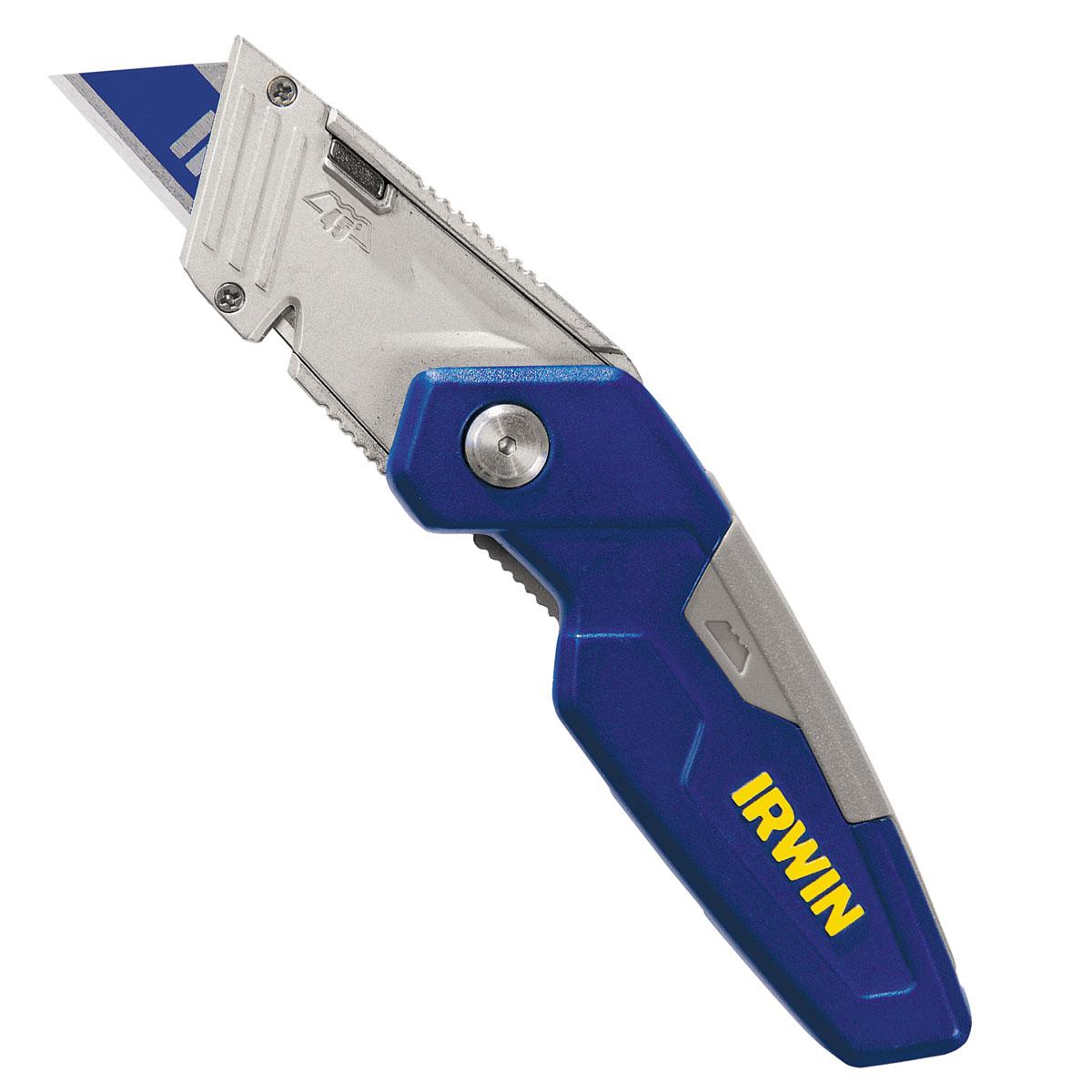 Нож складной Irwin FK150 с выдвижным трапециевидным лезвием1888438Складной нож Irwin FK150 используется для резки различных материалов при выполнении ремонтных, отделочных или строительных работ. Складная конструкция позволяет полностью убирать лезвие, что повышает уровень безопасности при хранении и ношении ножа.
