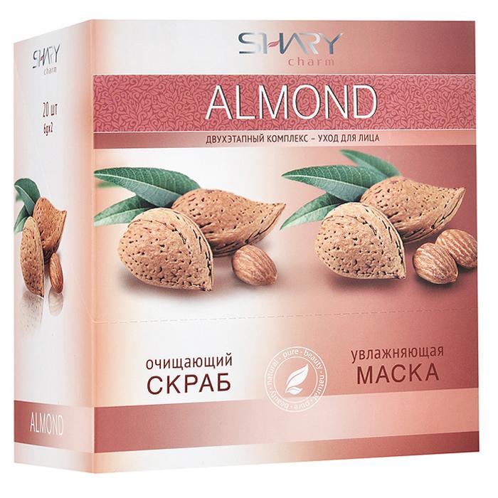 Shary Двухэтапный комплекс-уход для лица Almond: очищающий скраб, увлажняющая маска, 20x12 г8809270623542Двухэтапный комплекс-уход для лица Shary Almonds включает в себя очищающий скраб и увлажняющую маску. Очищающий кремовый скраб для лица содержит натуральный эксфолиант - микрогранулы из абрикосовых косточек, позволяющий мягко и нежно очистить даже самую чувствительную кожу, не повреждая ее. Легкая текстура скраба деликатно удаляет ороговевшие клетки и загрязнения, ускоряет естественный процесс регенерации, омолаживает и выравнивает кожу. В результате применения кожа выглядит обновленной, цвет лица становится свежим и сияющим. Применение очищающего скраба подготавливает кожу к нанесению увлажняющей маски и усиливает ее действие. Увлажняющая маска для лица обеспечивает глубокое и длительное увлажнение кожи, насыщая необходимыми питательными веществами. Кожа вновь приобретет эластичность, упругость, здоровый и цветущий вид. Миндальное масло обладает превосходными питательными, смягчающими и омолаживающими свойствами. Повышенное содержание витаминов A...