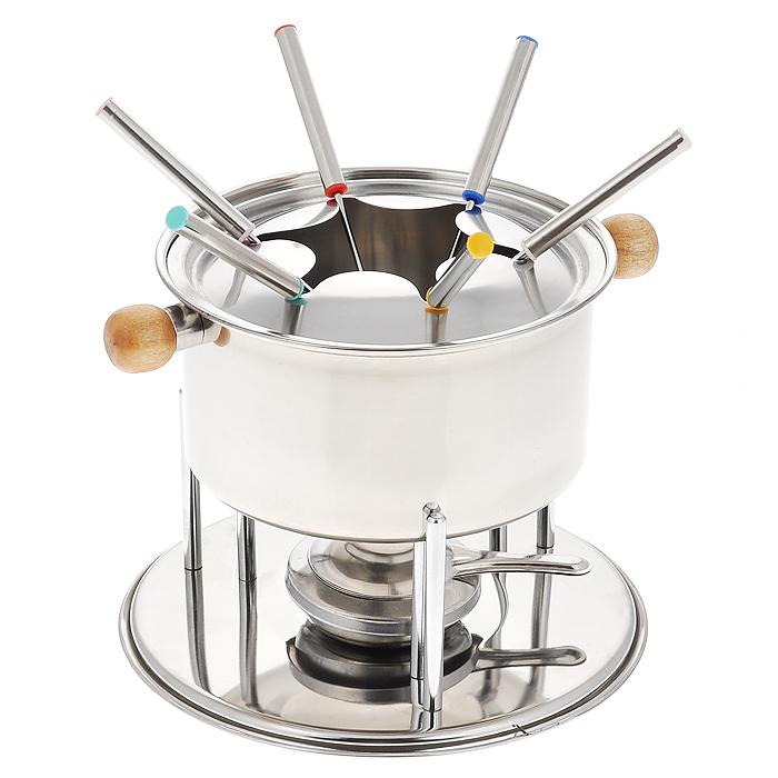 Набор для фондю, 10 предметовHG-289Набор для фондю, рассчитанный на 6 персон, выполнен из металла и дерева. В набор входят: кастрюля для фондю, крышка, подставка для кастрюли, горелка, шесть вилок. Кастрюля, наполненная продуктами, будет постепенно нагреваться от горелки, и продукты будут растапливаться. Заслонка на горелку позволяет регулировать интенсивность пламени. Для удобства в обращении на кастрюлю надевается крышка с выемками для вилок. Набор пригоден для мытья в посудомоечной машине (при минимальной температуре). Обычай приглашать на фондю (от французского fondre - растапливать) пришел из Швейцарии. Зимой в занесенных снегом домах альпийские фермеры готовили из того, что было у них под рукой, в основном из подсохшего хлеба и сыра. В наши дни фондю имеет много вариантов, когда, кроме хлеба, подают кубики мяса, овощей или рыбы, а вместо сыра используют масло. Традиционно фондю устраивают вечером и приглашают небольшое количество гостей, которых рассаживают за...