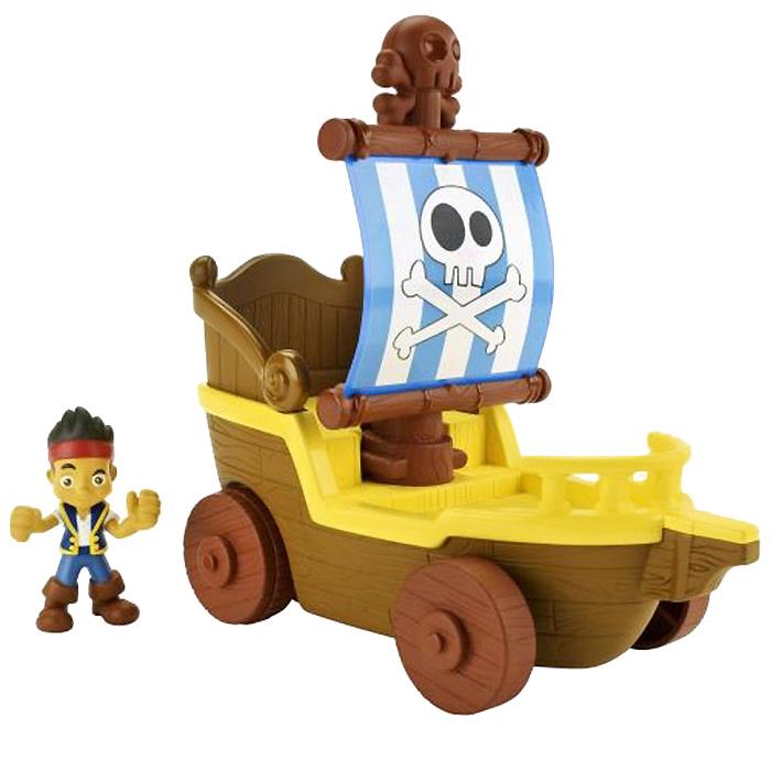 Jake & Neverland Pirates Парусник Джейка. BGM28_BGM30BGM28_BGM30Игровой набор Jake & Neverland Pirates Парусник Джейка не позволит скучать вашему непоседе. Он выполнен из безопасного пластика и включает фигурку Джейка и его парусник на колесах. При нажатии на череп с костями на верхней части мачты на парус налетит порыв воздуха, и корабль двинется вперед на колесах, имитируя настоящее плавание. Стоит отпустить мачту, и парус вернется в исходное положение. Фигурку героя можно установить в передней части корабля или позади мачты с парусом. Ваш ребенок с удовольствием будет играть вместе с любимым героем, придумывая увлекательные истории. Порадуйте его таким замечательным подарком!