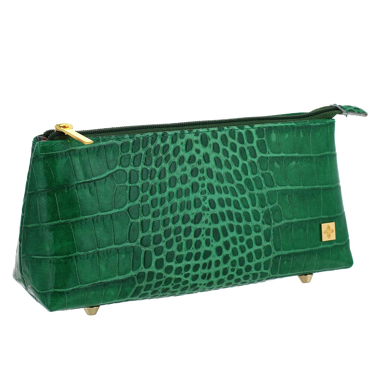 Косметичка Dimanche Казино, цвет: зеленый. 707707Косметичка Dimanche Казино изготовлена из высококачественной натуральной кожи с декоративным тиснением под рептилию. Внутренняя поверхность отделена шелковистым текстилем. Закрывается на застежку-молнию. На дне расположены четыре металлические ножки. Фурнитура - золотистого цвета. Косметичка Dimanche - яркий стильный аксессуар, который дополнит ваш образ и станет незаменимой вещью для хранения косметики. Благодаря компактным размерам косметичка поместится в любую сумочку.