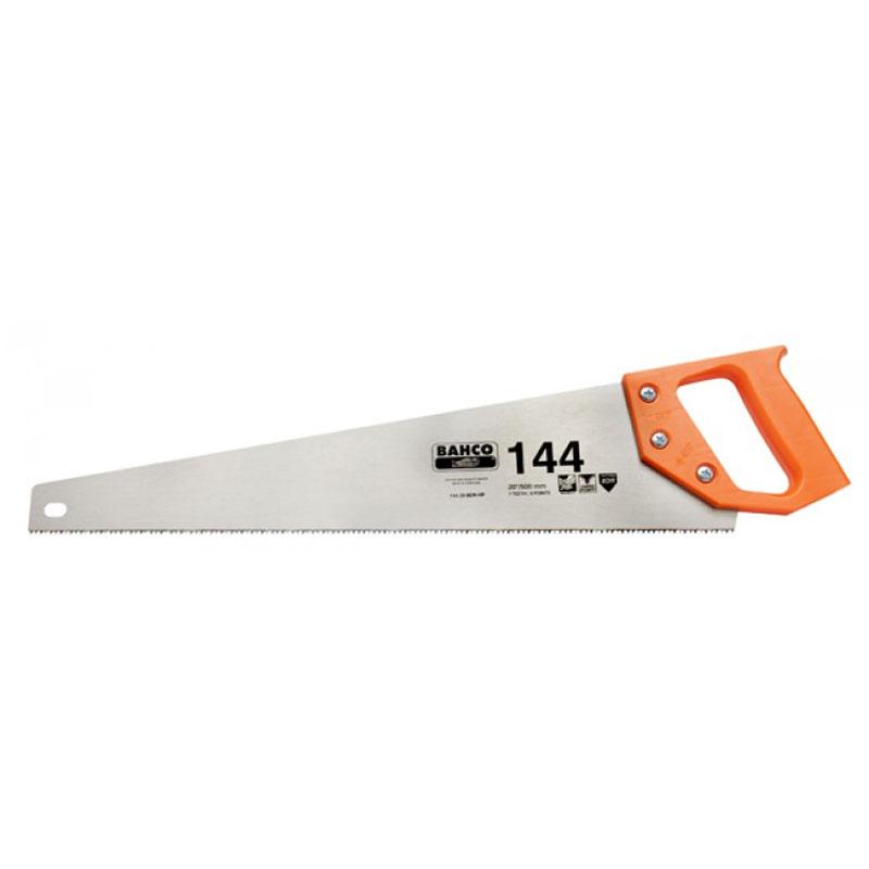 Ножовка по дереву Bahco, не каленый зуб, 400 мм144-16-8DRНожовка универсальная Bahco для работы по дереву, ламинату, пластику, алюминию. Разработанная с учетом требований эргономики, пила прекрасно лежит в руке. Полотно изготовлено из прочной, высококачественной стали устойчивой к коррозионным процессам. Универсальный перетачиваемый закаленный зуб сохраняет остроту на долгое время. Монолитная пластмассовая рукоятка позволяет размечать углы в 45° и 90°. Длина полотна: 40 см. Размер ручки: 14 см х 12 см х 2,5 см. Общий размер пилы: 50 см х 13 см х 2,5 см.