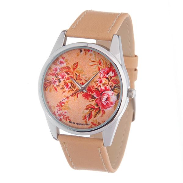 Часы Mitya Veselkov Цветы (бежевый). Color-83Color-83Наручные часы Mitya Veselkov Цветы созданы для современных людей, которые стремятся выделиться из толпы и подчеркнуть свою индивидуальность. Часы оснащены японским кварцевым механизмом. Ремешок выполнен из натуральной кожи бежевого цвета, корпус изготовлен из стали серебристого цвета. Циферблат оформлен оригинальным изображением. Часы размещаются на специальной подушечке и упакованы в фирменный стакан Mitya Veselkov.
