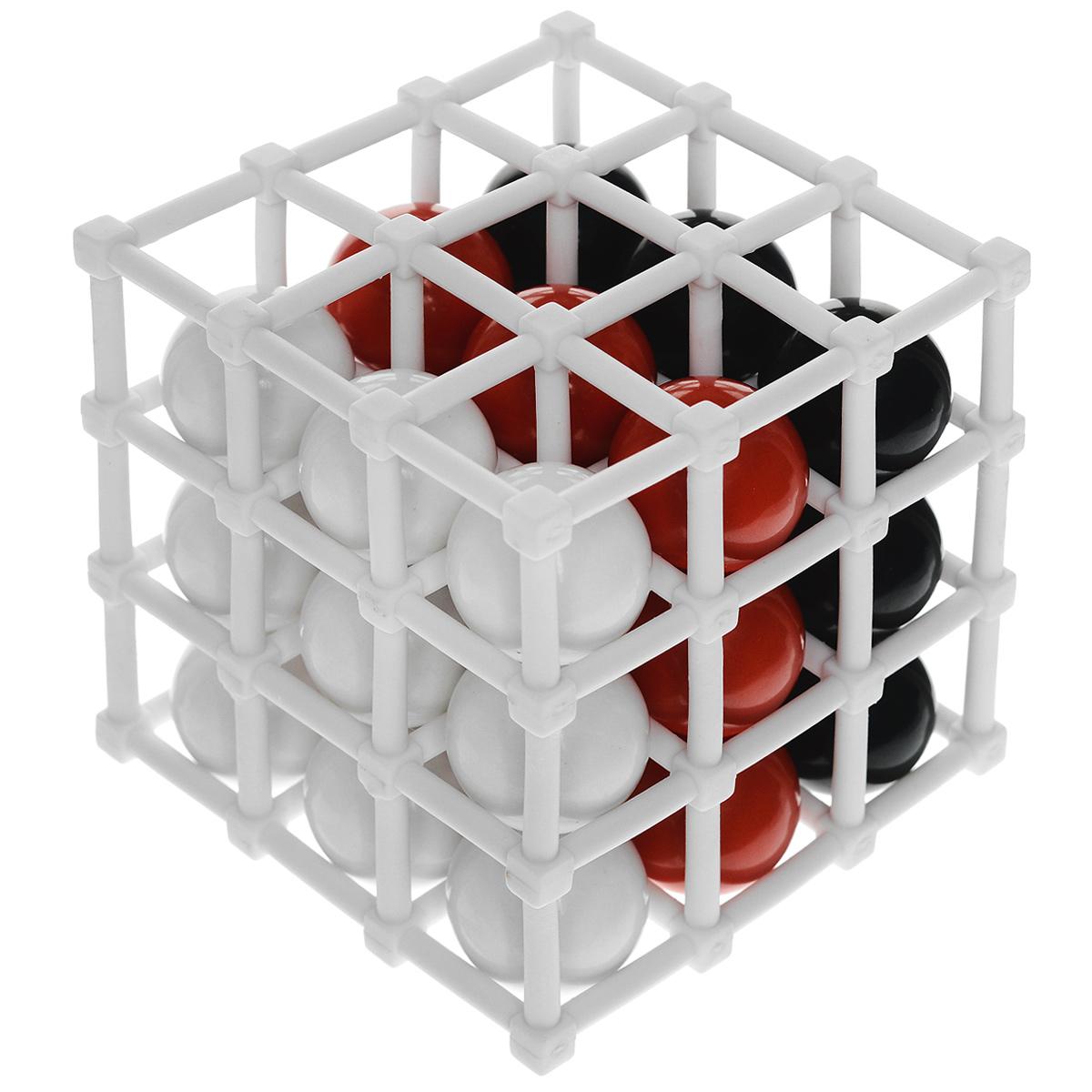 Настольная игра Кубулус (Cubulus)Р61764Настольная игра Кубулус (Cubulus) - очень необычная и невероятно занимательная игра! Игрокам нужно составить квадрат из четырех шаров одного цвета на любой из сторон куба, состоящего из 27 ячеек. В свой ход можно либо помещать один из шаров в куб, либо менять порядок шаров в выстроенной линии. Будьте внимательны и постарайтесь не упустить из вида ни одну из сторон! Выигрывает тот игрок, которому первым удалось создать квадрат из четырех шаров своего цвета на одной из сторон куба. Квадрат можно составить тремя различными способами. Если одновременно с этим образуется квадрат из шаров цвета другого игрока, то побеждает другой игрок. В игру можно играть как вдвоем, так и втроем, во втором случае нет шаров нейтрального цвета. Комплект игры включает мягкий кубик, состоящий из 27 ячеек, 27 шариков трех различных цветов и правила игры на русском языке. Время игры - 20 минут.