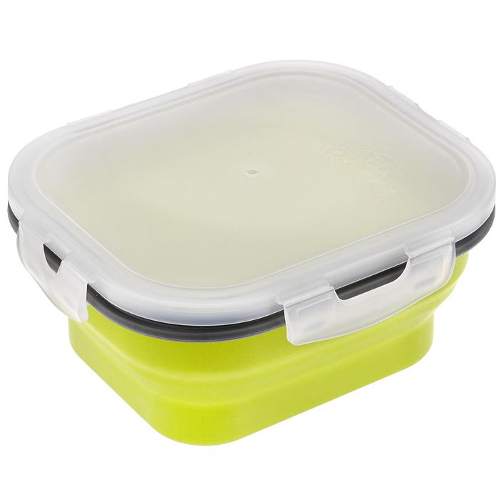 Контейнер силиконовый, складной, 13 см х 15,5 см х 7 см. 842-002842-002Складной контейнер, выполненный из силикона, это удобная и легкая тара для хранения и транспортировки бутербродов, порционных салатов, мяса или рыбы, горячих и холодных блюд, даже жидких продуктов. Силикон - экологически безопасный материал, не выделяющий вредных веществ при взаимодействии с пищей. Если у вас вошло в привычку брать на работу домашнюю еду, с этим контейнером вы можете разнообразить свой рацион. После использования контейнер можно просто сложить, он становится в два раза меньше по высоте и легко поместится в сумку. Необычная форма, яркий цвет, более удобная конструкция - все это отличает контейнер от других лоточков. Контейнер абсолютно герметичен. Пластиковая крышка оснащена четырьмя специальными Защелками и силиконовым уплотнителем. Контейнер можно использовать в СВЧ и хранить в холодильнике.