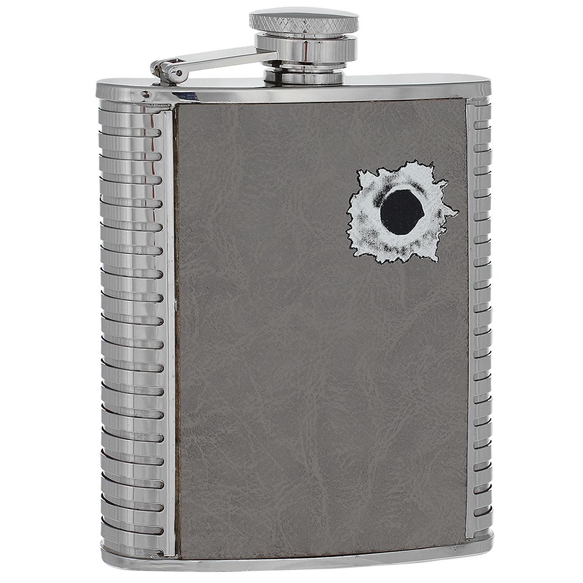 Фляга S.Quire Пуля, 240 мл1508YGB-7-BФляга S.Quire изготовлена из нержавеющей стали 18/10 и оформлена вставкой из искусственной кожи серого цвета с рисунком в виде дырки от пули. Фляга специально предназначена для хранения алкогольных напитков. Ее нельзя использовать для напитков, содержащих кислоту, таких как сок и сердечные лекарства. Крышка плотно закрывается, предотвращая проливание. Фляга S.Quire - идеальный подарок для настоящих мужчин. Стильный дизайн, компактность и качество изделия, несомненно, порадуют любого мужчину.