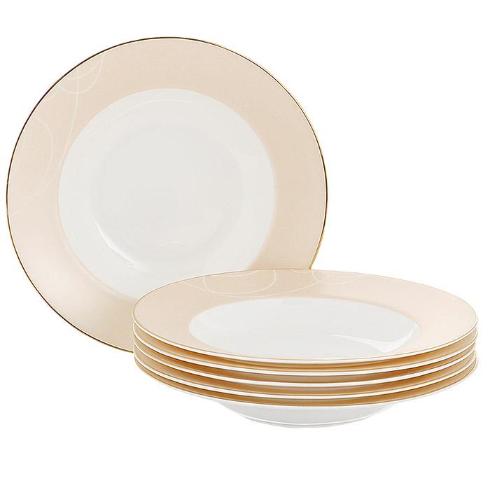 Набор суповых тарелок Esprado El Gracio, диаметр 23 см, 6 штEG30B23E301Набор Esprado El Gracio состоит из шести суповых тарелок, выполненных из костяного фарфора. Основная составляющая костяного фарфора - костная зола и каолин. От содержания костной золы зависит белизна и прозрачность фарфора, который может содержать до 50% костяной золы. Родина костной золы, из которой производится посуда Esprado, - Великобритания, славящаяся сырьем высокого качества. Каолин, белая глина на основе природного минерала, поступает из Новой Зеландии, одного из наиболее экологически чистых регионов мира. Такое сочетание обеспечивает высокое качество материала и безупречный оттенок слоновой кости. В костяном фарфоре отсутствуют примеси кадмия и свинца, а потому он абсолютно нетоксичен и безопасен. Экологическая глазурь из Японии, высоко ценящаяся во всем мире, которой покрывается готовое изделие, позволяет добиться идеально ровного цвета и кристального блеска. При декорировании использованы драгоценные металлы, в том числе платина и золото. Изделия серии...