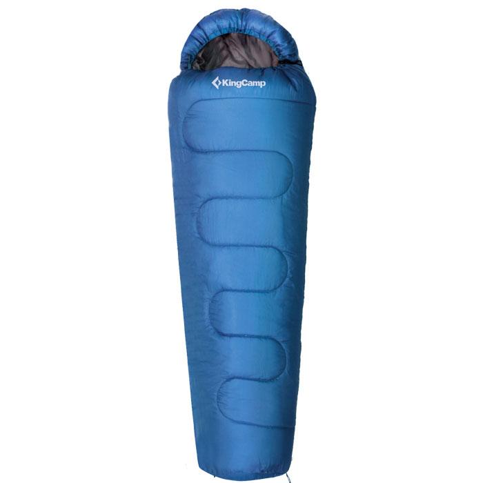 Спальный мешок KingCamp Treck 200 KS3191, правосторонняя молния, цвет: синийУТ-000050705Трехсезонный спальник-кокон KingCamp Treck 200 с подголовником - незаменимая вещь для любителей уюта и комфорта во время активного отдыха. Спальный мешок закрывается на двустороннюю застежку-молнию. Этот теплый спальный мешок спасет вас от холода во время туристического похода, поездки на рыбалку даже в межсезонье. Спальный мешок упакован в компрессионный нейлоновый чехол. Наполнитель: WarmLoft (Hollowfibre), 200 г/м2. Материал внешнего кокона: 190Т полиэстер с водоотталкивающим покрытием. Материал внутреннего кокона: 65% полиэстер, 35% хлопок.