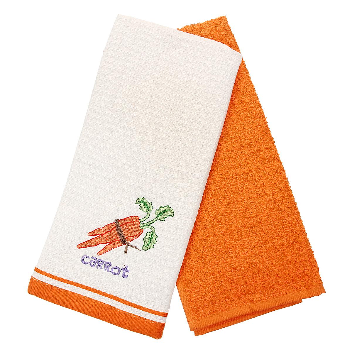 """Набор кухонных полотенец Coronet """"Морковь"""", цвет: оранжевый, бежевый, 40 х 60 см, 2 шт"""