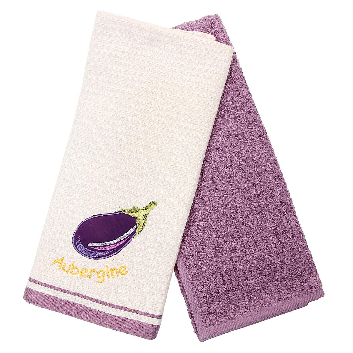 Набор кухонных полотенец Coronet Баклажан, цвет: фиолетовый, бежевый, 40 х 60 см, 2 штК-МП-5010-05-07-03Набор Coronet Баклажан состоит из двух прямоугольных полотенец: вафельного полотенца бежевого цвета с вышивкой в виде баклажана и махрового полотенца фиолетового цвета. Изделия выполнены из натурального хлопка, поэтому являются экологически чистыми. Высочайшее качество материала гарантирует безопасность не только взрослых, но и самых маленьких членов семьи. Кухонные полотенца Coronet практичны и долговечны. Прекрасно впитывают влагу. Эти свойства изделия из натурального хлопка не теряют на протяжении многих лет. Хлопчатобумажные изделия выдерживают многочисленные стирки при высоких температурах. Такой набор идеально дополнит интерьер вашей кухни и создаст атмосферу уюта и комфорта. Coronet предлагает коллекции готовых стилистических решений для различной кухонной мебели, множество видов, рисунков и цветов. Вам легко будет создать нужную атмосферу на кухне и в столовой. Рекомендации по уходу: - стирать при температуре 40°С, - чистка с...