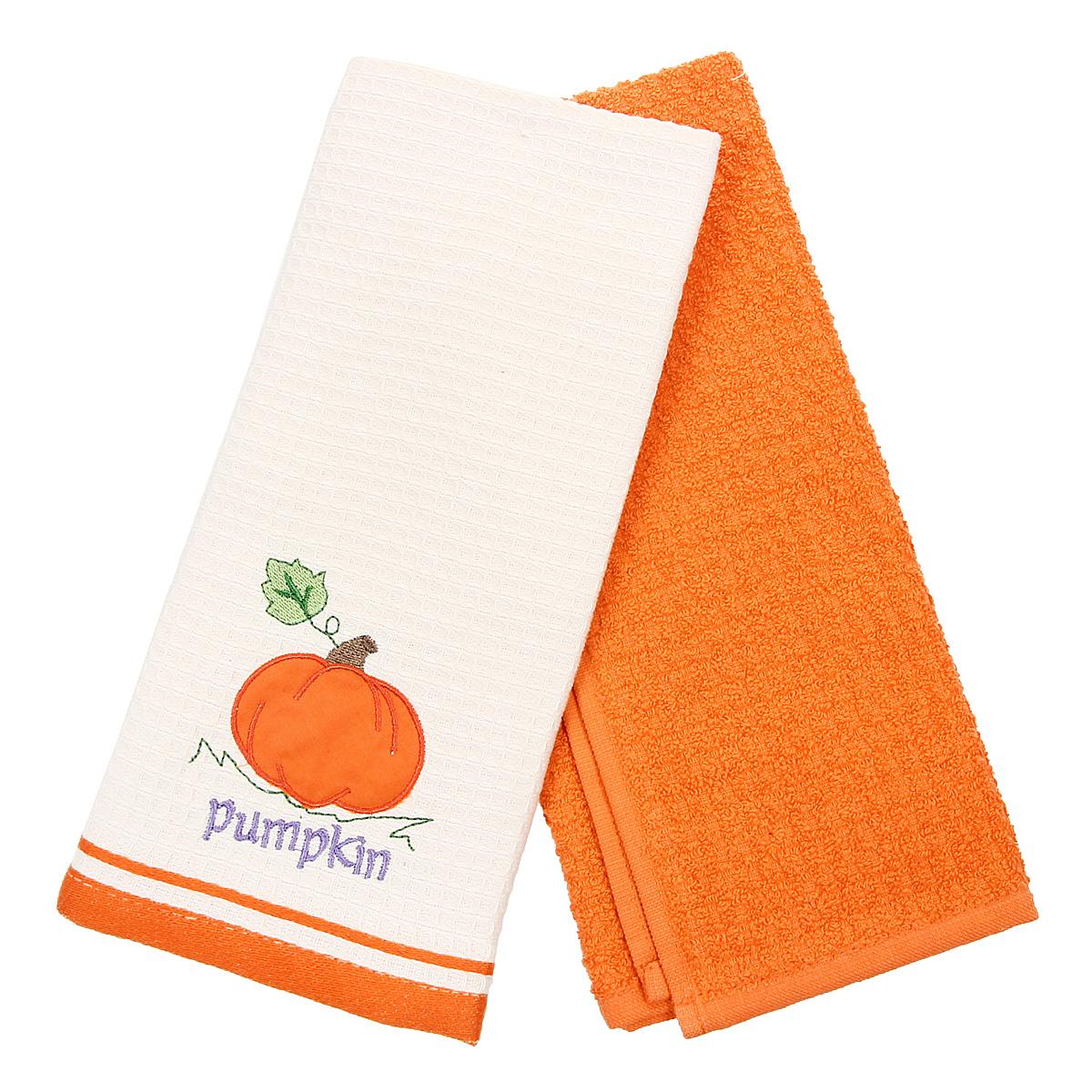 Набор кухонных полотенец Coronet Тыква, цвет: оранжевый, бежевый, 40 см х 60 см, 2 штК-МП-5010-05-05-01Набор Coronet Тыква состоит из двух прямоугольных полотенец: вафельного полотенца бежевого цвета с вышивкой в виде тыквы и махрового полотенца оранжевого цвета. Изделия выполнены из натурального хлопка, поэтому являются экологически чистыми. Высочайшее качество материала гарантирует безопасность не только взрослых, но и самых маленьких членов семьи. Кухонные полотенца Coronet практичны и долговечны. Прекрасно впитывают влагу. Эти свойства изделия из натурального хлопка не теряют на протяжении многих лет. Хлопчатобумажные изделия выдерживают многочисленные стирки при высоких температурах. Такой набор идеально дополнит интерьер вашей кухни и создаст атмосферу уюта и комфорта. Coronet предлагает коллекции готовых стилистических решений для различной кухонной мебели, множество видов, рисунков и цветов. Вам легко будет создать нужную атмосферу на кухне и в столовой. Рекомендации по уходу: - стирать при температуре 40°С, - чистка с использованием...