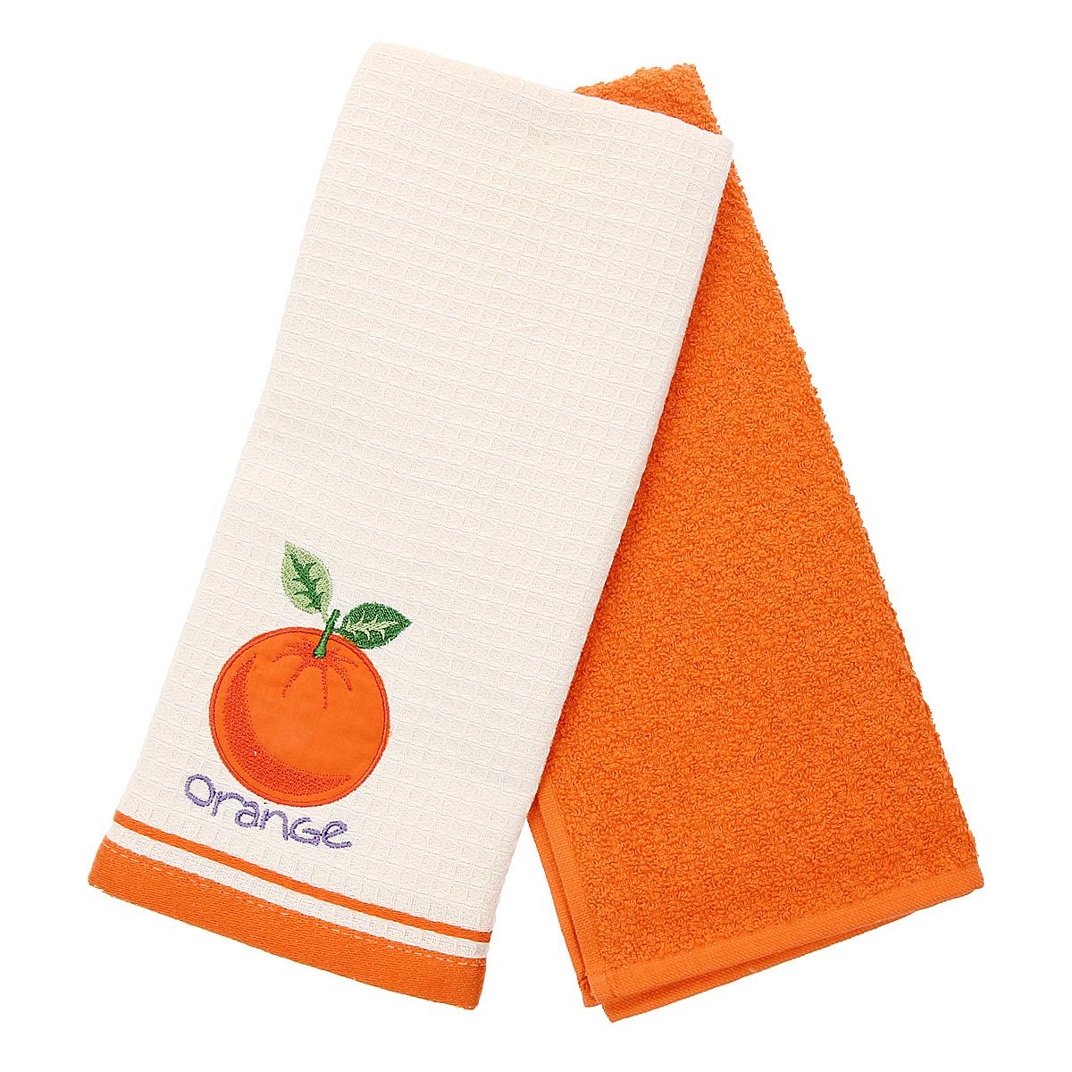 Набор кухонных полотенец Coronet Апельсин, цвет: оранжевый, бежевый, 40 см х 60 см, 2 штК-МП-5010-05-05-03Набор Coronet Апельсин состоит из двух прямоугольных полотенец: вафельного полотенца бежевого цвета с вышивкой в виде апельсина и махрового полотенца оранжевого цвета. Изделия выполнены из натурального хлопка, поэтому являются экологически чистыми. Высочайшее качество материала гарантирует безопасность не только взрослых, но и самых маленьких членов семьи. Кухонные полотенца Coronet практичны и долговечны. Прекрасно впитывают влагу. Эти свойства изделия из натурального хлопка не теряют на протяжении многих лет. Хлопчатобумажные изделия выдерживают многочисленные стирки при высоких температурах. Такой набор идеально дополнит интерьер вашей кухни и создаст атмосферу уюта и комфорта. Coronet предлагает коллекции готовых стилистических решений для различной кухонной мебели, множество видов, рисунков и цветов. Вам легко будет создать нужную атмосферу на кухне и в столовой. Рекомендации по уходу: - стирать при температуре 40°С, - чистка с...
