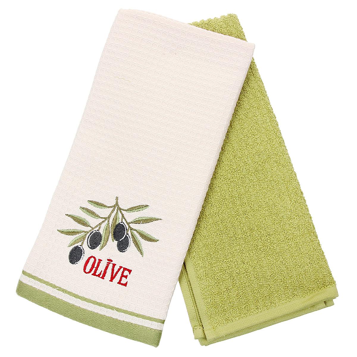 Набор кухонных полотенец Coronet Оливки, цвет: зеленый, бежевый, 40 х 60 см, 2 штК-МП-5010-05-09-01Набор Coronet Оливки состоит из двух прямоугольных полотенец: вафельного полотенца бежевого цвета с вышивкой в виде веточки с оливками и махрового полотенца зеленого цвета. Высочайшее качество материала гарантирует безопасность не только взрослых, но и самых маленьких членов семьи. Кухонные полотенца Coronet практичны и долговечны. Прекрасно впитывают влагу. Эти свойства изделия из натурального хлопка не теряют на протяжении многих лет. Хлопчатобумажные изделия выдерживают многочисленные стирки при высоких температурах. Такой набор идеально дополнит интерьер вашей кухни и создаст атмосферу уюта и комфорта. Coronet предлагает коллекции готовых стилистических решений для различной кухонной мебели, множество видов, рисунков и цветов. Вам легко будет создать нужную атмосферу на кухне и в столовой. Рекомендации по уходу: - стирать при температуре 40°С, - чистка с использованием углеводорода, хлорного этилена, монофлотрихлометана, - нельзя...
