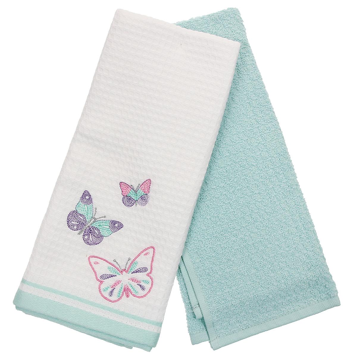 Набор кухонных полотенец Coronet Бабочки, цвет: белый, бирюзовый, 40 х 60 см, 2 штК-МП-5010-05-01-02Набор Coronet Бабочки состоит из двух прямоугольных полотенец: вафельного полотенца белого цвета с вышивкой в виде бабочек и махрового полотенца бирюзового цвета. Высочайшее качество материала гарантирует безопасность не только взрослых, но и самых маленьких членов семьи. Кухонные полотенца Coronet практичны и долговечны. Прекрасно впитывают влагу. Эти свойства изделия из натурального хлопка не теряют на протяжении многих лет. Хлопчатобумажные изделия выдерживают многочисленные стирки при высоких температурах. Такой набор идеально дополнит интерьер вашей кухни и создаст атмосферу уюта и комфорта. Coronet предлагает коллекции готовых стилистических решений для различной кухонной мебели, множество видов, рисунков и цветов. Вам легко будет создать нужную атмосферу на кухне и в столовой. Рекомендации по уходу: - стирать при температуре 40°С, - чистка с использованием углеводорода, хлорного этилена, монофлотрихлометана, - нельзя отбеливать, ...
