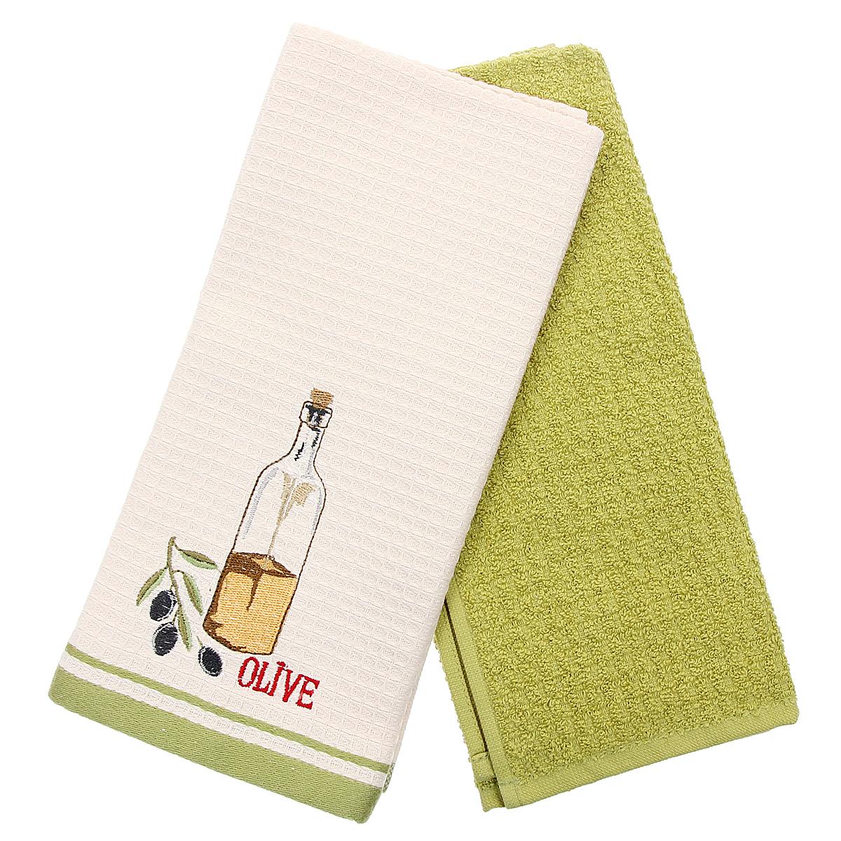 Набор кухонных полотенец Coronet Масло, цвет: зеленый, бежевый, 40 х 60 см, 2 штК-МП-5010-05-09-03