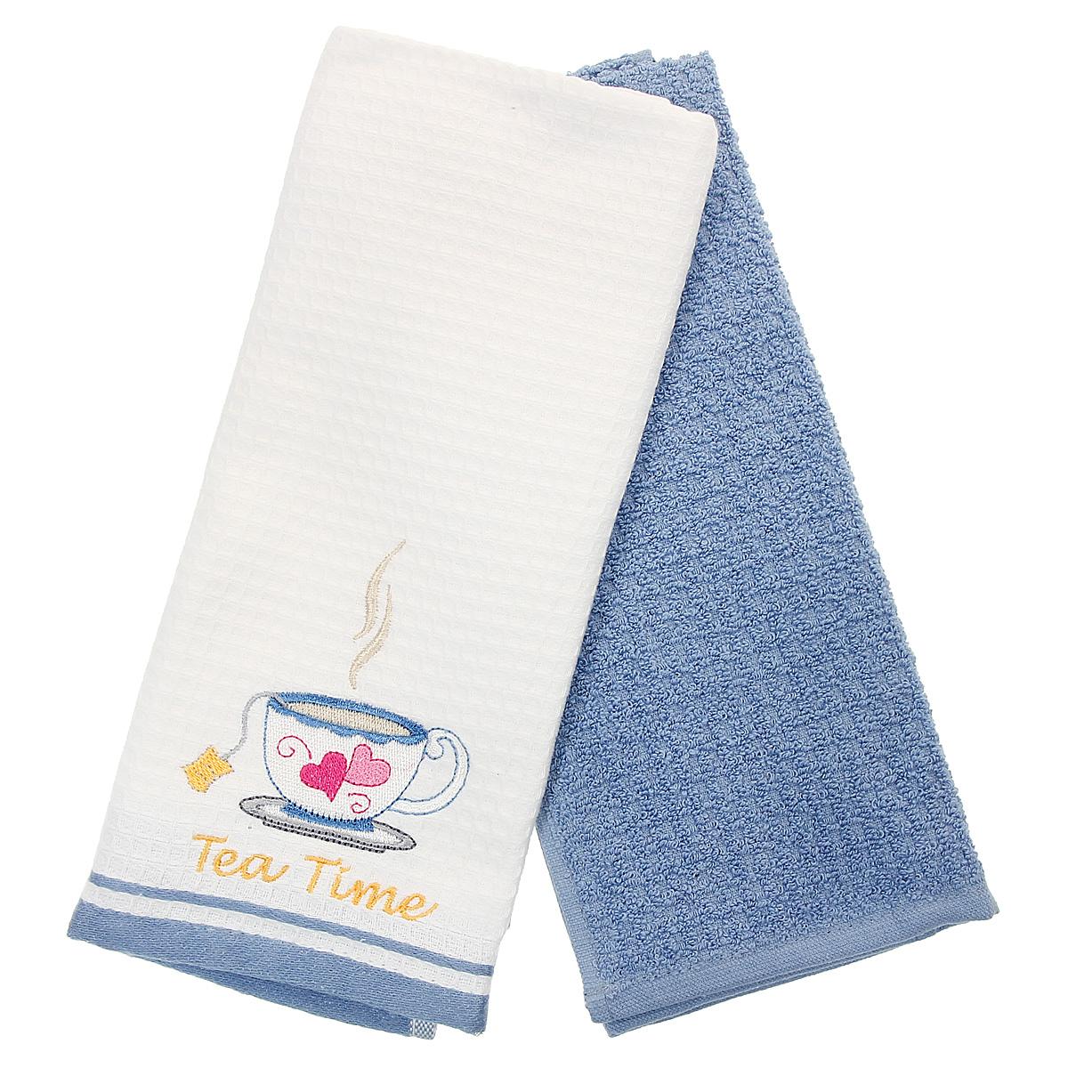 Набор кухонных полотенец Coronet Чашка, цвет: белый, синий, 40 х 60 см, 2 штК-МП-5010-05-03-03