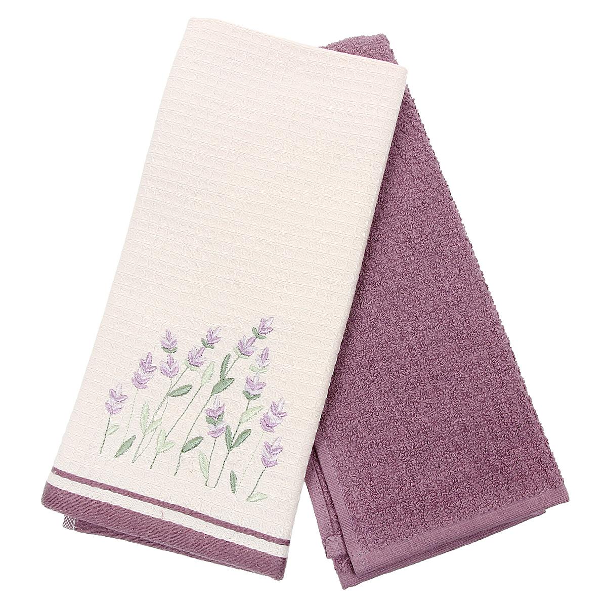 Набор кухонных полотенец Coronet Лаванда, цвет: фиолетовый, бежевый, 40 см х 60 см, 2 штК-МП-5010-05-07-01Набор Coronet Лаванда состоит из двух прямоугольных полотенец: вафельного полотенца бежевого цвета с вышивкой в виде цветков лаванды и махрового полотенца фиолетового цвета. Изделия выполнены из натурального хлопка, поэтому являются экологически чистыми. Высочайшее качество материала гарантирует безопасность не только взрослых, но и самых маленьких членов семьи. Кухонные полотенца Coronet практичны и долговечны. Прекрасно впитывают влагу. Эти свойства изделия из натурального хлопка не теряют на протяжении многих лет. Хлопчатобумажные изделия выдерживают многочисленные стирки при высоких температурах. Такой набор идеально дополнит интерьер вашей кухни и создаст атмосферу уюта и комфорта. Coronet предлагает коллекции готовых стилистических решений для различной кухонной мебели, множество видов, рисунков и цветов. Вам легко будет создать нужную атмосферу на кухне и в столовой. Рекомендации по уходу: - стирать при температуре 40°С, - чистка с...