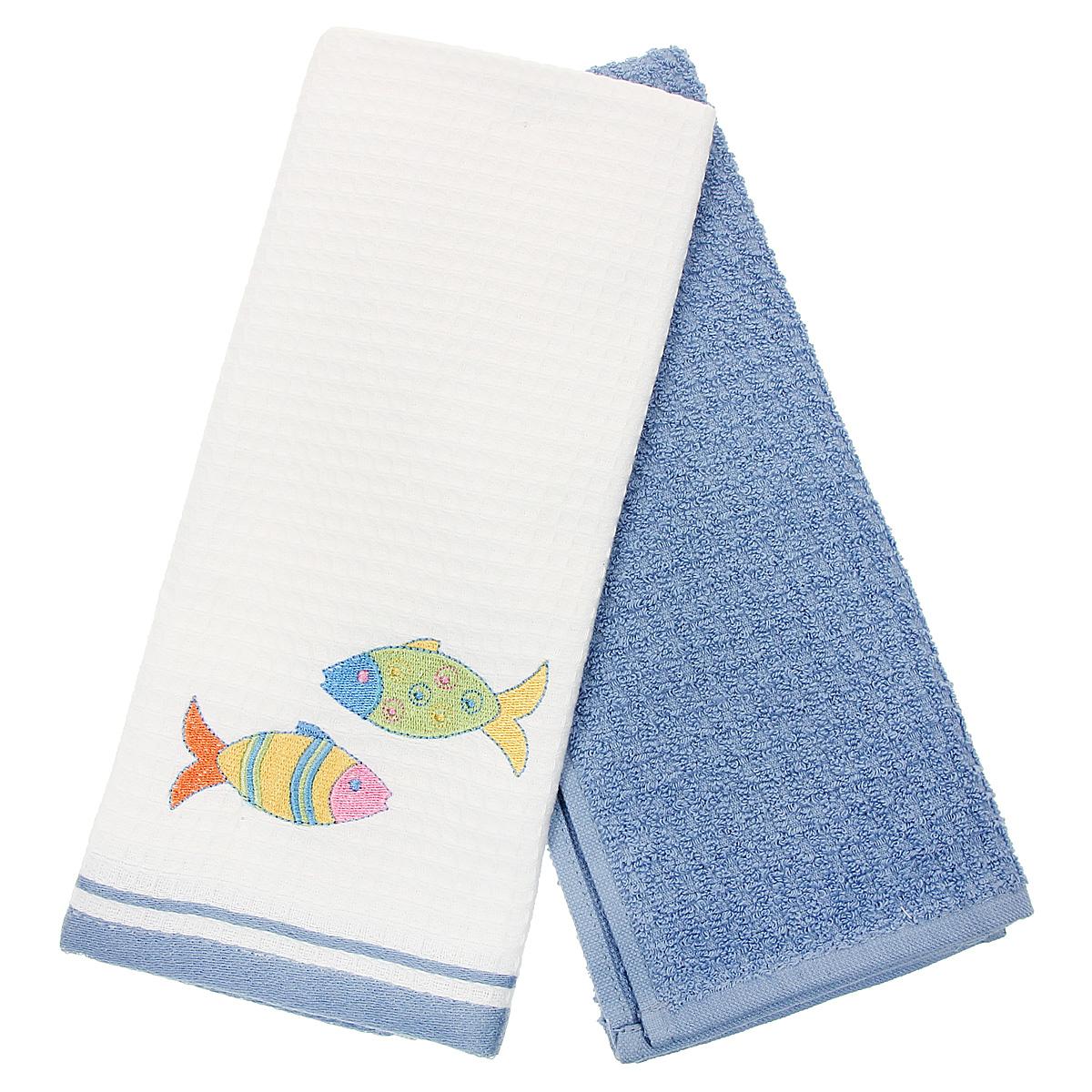 Набор кухонных полотенец Coronet Рыбки, цвет: белый, синий, 40 см х 60 см, 2 штК-МП-5010-05-03-02